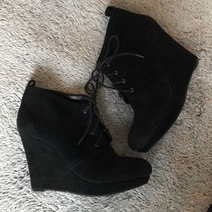 Jessica Simpson black wedge ankle boots